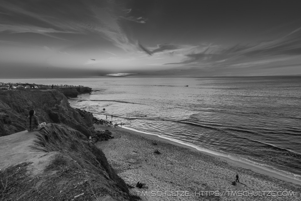 Sunset Cliffs Overlook Black and White by T.M. Schultze