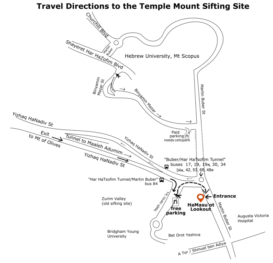 Map of the area of the sifting site, including bus stops and parking lots