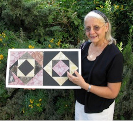 Frankie holding an opus sectile she reconstructed