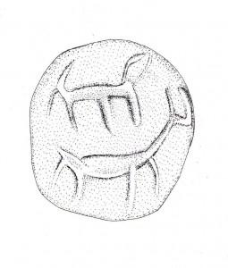 ציור של החותם. בעל החיים העליון על-פי זנבו נראה כאריה, והתחתון על פי צווארו הארוך וקרניו נראה כצבי או אייל.