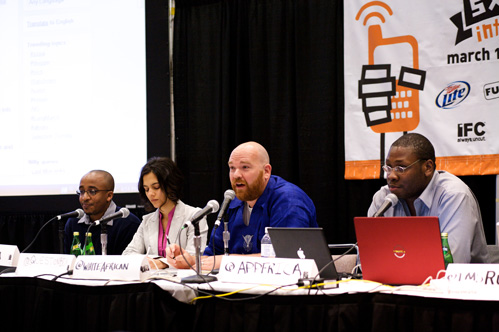 #Afridev panelist at South by Southwest: (L to R) David Kobia - Ushahidi & Mashada; Rose Shuman - Question Box; Erik Hersman - Afrigadget; Jon Gossier - AppAfrica Labs