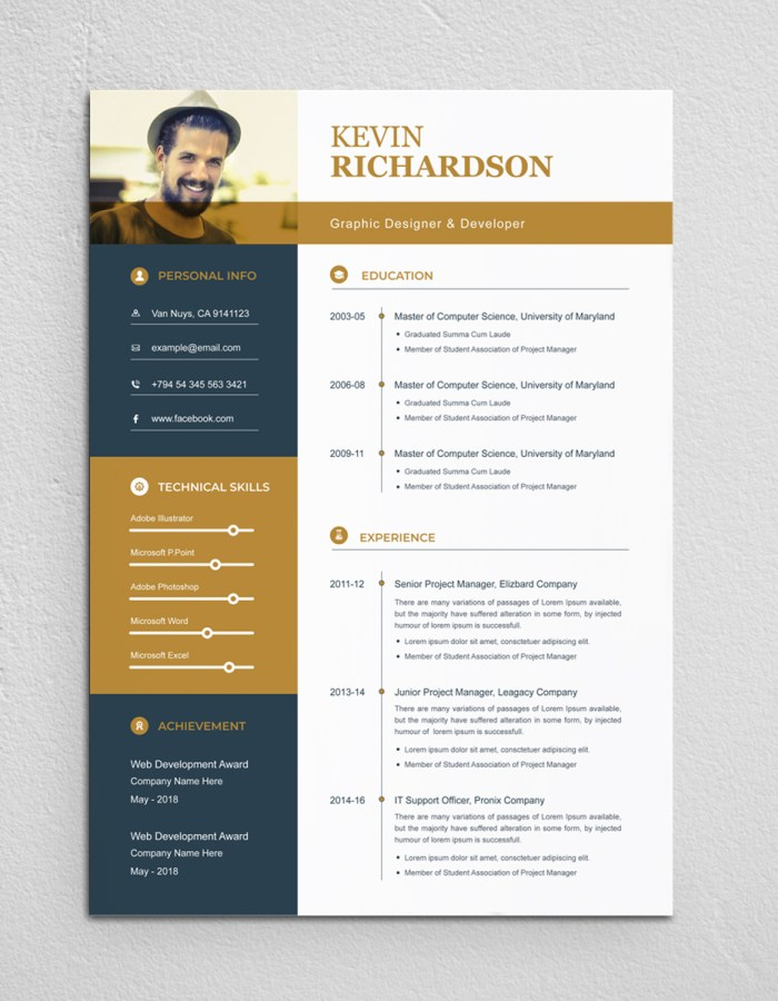 Brown and Blue Resume Template With Photo