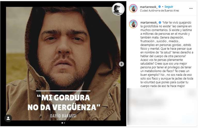 El posteo de Mar Tarrés en el que apoyó a Darío Barassi. (Foto: Instagram/@martarresok_)