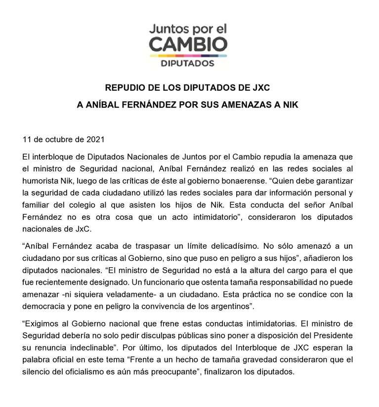 El comunicado de Juntos por el Cambio en repudio al tuit de Aníbal Fernández con amenazas a Nik. (Foto:Twitter/ dipurtadosucr).