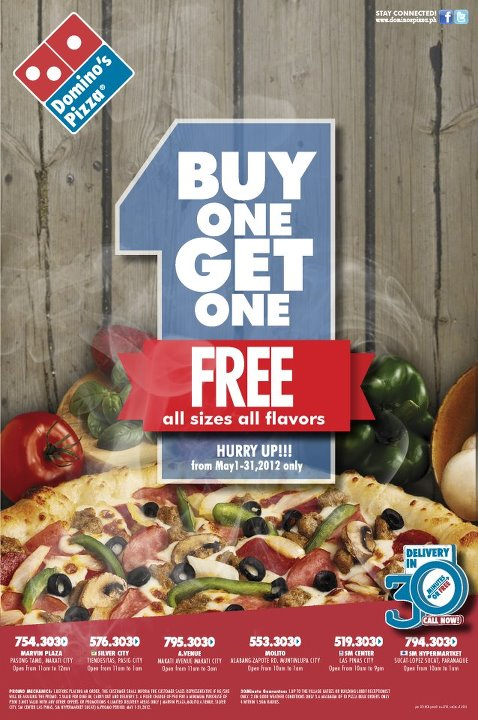 Domino's Pizza- Buy 1 Get 1 FREE! (Philippines~Selected ...