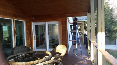 painting and staining the porch