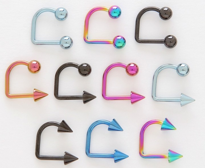 Lippy Loop Anodized Titanium Colored Lip Ring Labret Monroe 14g Select Ball Or Cone Ends Both