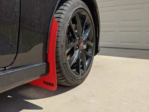 T N M F second gen Hyundai Veloster mudflaps front passenger view