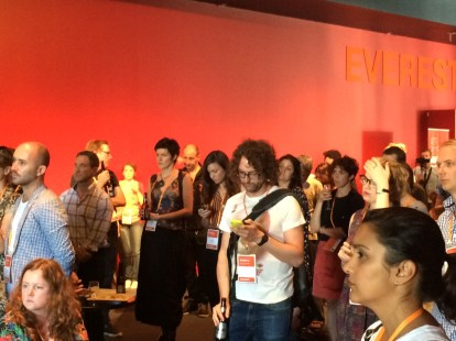 Nicole Beyer (TNV) & other sector members at TNN's 2015 Launch at Australian Theatre Forum