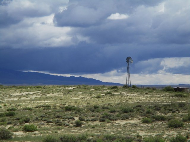 A windmill on the high desert in Wyoming.