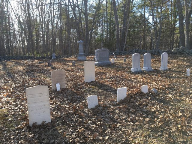 A small cemetery in Maine. It is early spring, so the grave markers are surrounded by dead leaves. A line of trees is in the background.