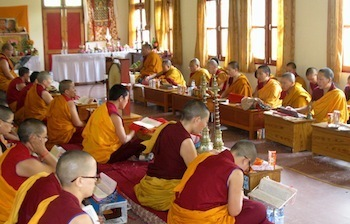 Buddhist nuns in prayer hall Shugsep Nunnery