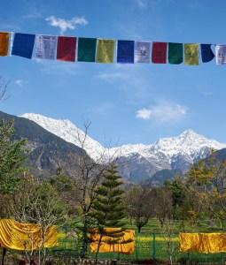 Tibetan prayer flags at Buddhist nunnery