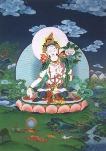 White Tara, a thangka painting by Tibetan artist Kalsang Dawa