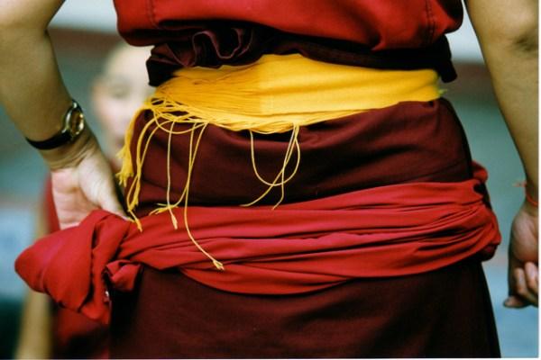 sashes around waist of Tibetan Buddhist nun