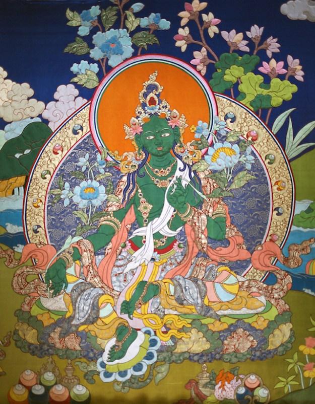 Buddhist deity Green Tara painting