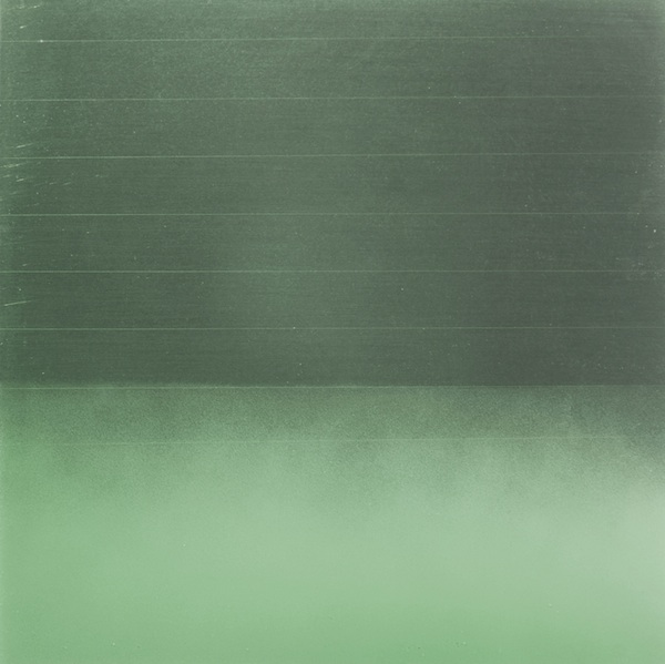 Miya Ando, Prayer Flag Green, 2013. Dye, Pigment, Phosphorescence, Lacquer & Resin on Aluminum Plate 12 in x 12 in x 1 in (30.48 cm x 30.48 cm x 2.54 cm) The color green represents water and stands for meaningful action.