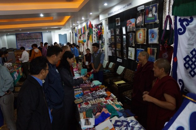Tibetan Buddhist nuns at handicraft exhibition in India