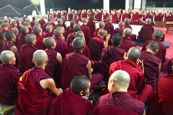 Crowd of Tibetan Buddhist nuns at debate event in India