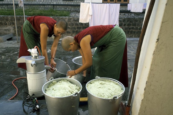 Tibetan nuns making tofu