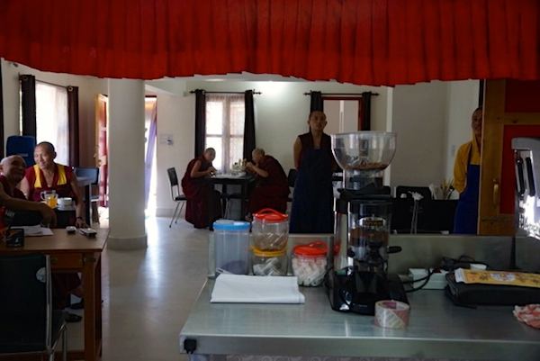 Customers dining at the new cafe run by the nuns at Dolma Ling Nunnery.