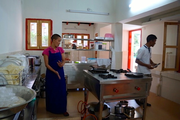 Inside the new nuns' cafe at Dolma Ling Nunnery and Institute