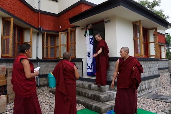 Tibetan Buddhist nuns entering the cafe
