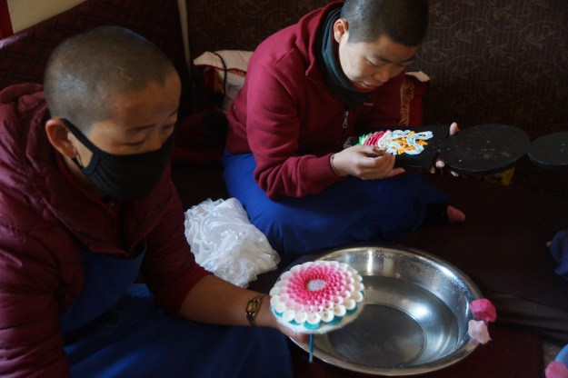 butter sculpture workshop, Tibetan butter sculptures, Tibetan Buddhism, Dolma Ling Nunnery, Tibetan nuns
