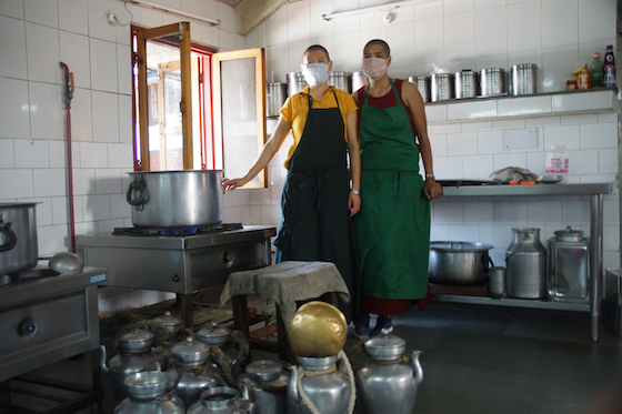 COVID-life Dolma Ling, Two Tibetan Buddhist nuns wearing masks