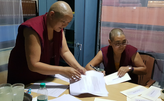 Geshema examination committee preparing paperwork for the 2019 Geshema exams