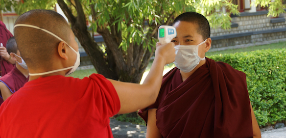 health check, coronavirus pandemic, COVID-19, Tibetan Buddhist nun