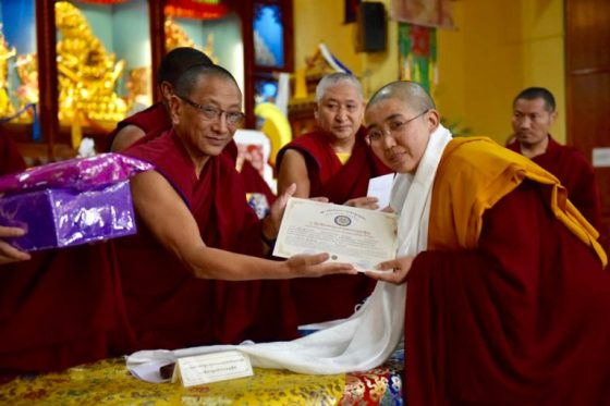 Geshema receives her certificate in Buddhist Tantric Studies 2019