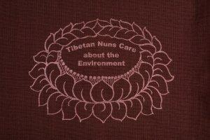 Shopping Bag Brown is made of cotton, reusable and eco-friendly with Tibetan Nuns Project screenprint on both sides, handmade by Tibetan nuns.