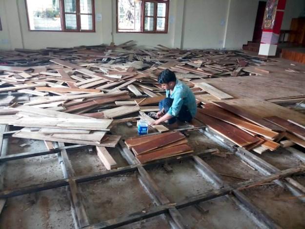 Shugsep Nunnery, temple floor, repair work on floor