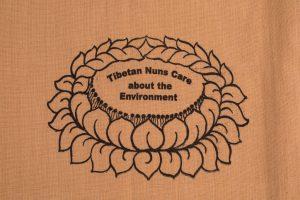 Shopping Bag Tan is made of cotton, reusable and eco-friendly with Tibetan Nuns Project screenprint on both sides, handmade by Tibetan nuns.