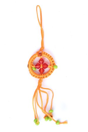 Small Dharma Wheel Orange made with a brightly-colored cord by Tibetan Buddhist nuns, charms used for the home and car decor meaning wheel of transformation