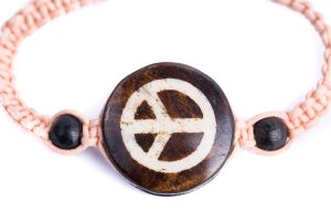 Peace Sign Cord Stitch Bracelet