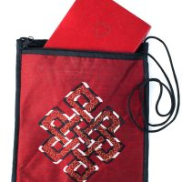 Silk Applique Bag-Red handmade silk bags have a zipper closure and nylon strap are appliqued with the meaningful Eternal Knot symbol
