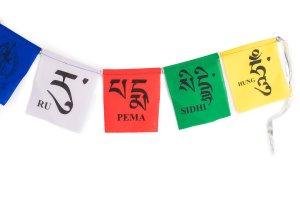 Mini multi-colored prayer flag Vajra Guru, Tibetan prayer flags are inscribed with auspicious symbols, invocations, prayers, and mantras