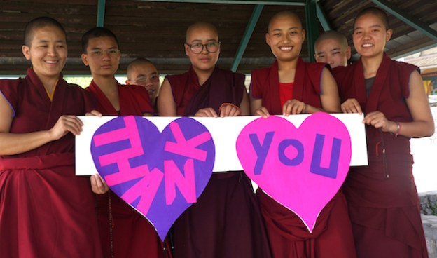 Tibetan Nuns Project, thank you photo, Tibetan Buddhist, thank you sign, Tibetan nuns, gratitude