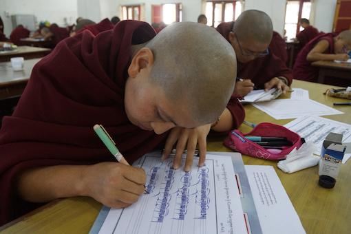 Tibetan nun education, Education Tibetan Buddhist nuns, Tibetan calligraphy, Tibetan Buddhist nun