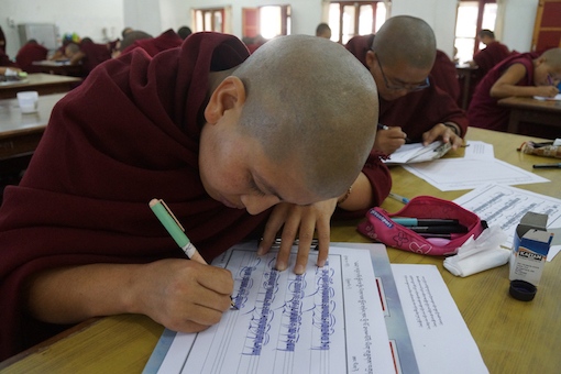 Tibetan nun education, Education Tibetan Buddhist nuns, Tibetan calligraphy, Tibetan Buddhist nun