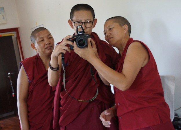 Tibetan Buddhist nuns from Sakya College receive camera training