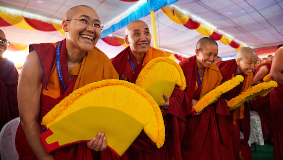 Tibetan Buddhist nuns getting their Geshema degree