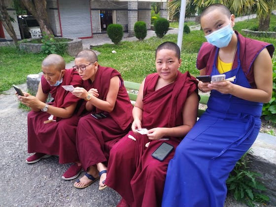 Tibetan Buddhist nuns register for vaccination