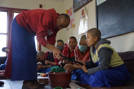 Tibetan nuns at Dolma Ling learning how to make Tibetan butter sculptures