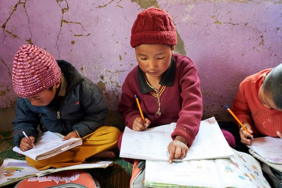 Young nuns study at Dorjee Zong Nunnery Photo by Olivier Adam
