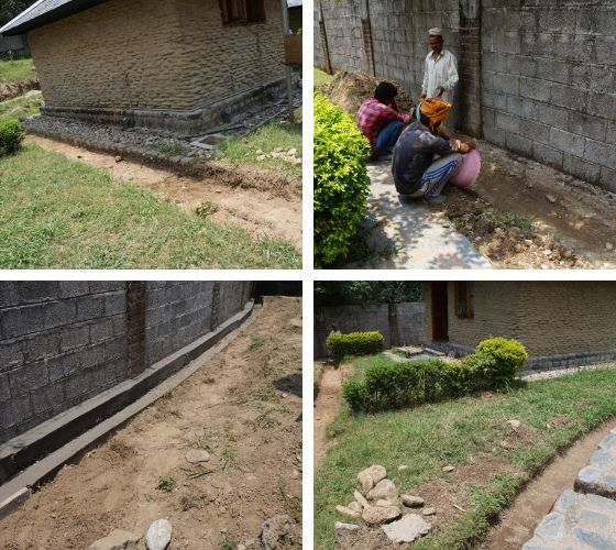 collage of photos showing retreat hut drainage work