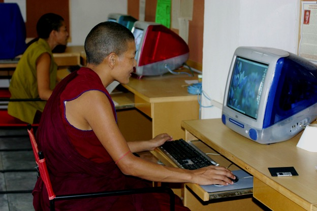 Delek Yangdron working at the computer