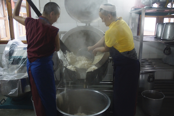 new electric rice cooker at Dolma Ling Nunnery